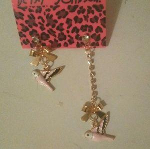 Pink Gyometrical Bird Earrings By Betsey Johnson